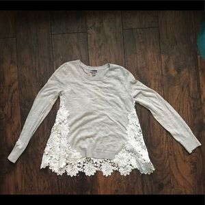 Chelsea28 Sweater with lace back. Size Small